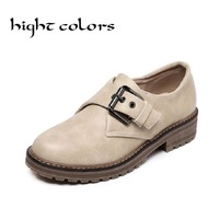 Vintage Pu Leather Hasp Round Toe Slip On Women Oxfords Fashion England Style Flat Oxfords For