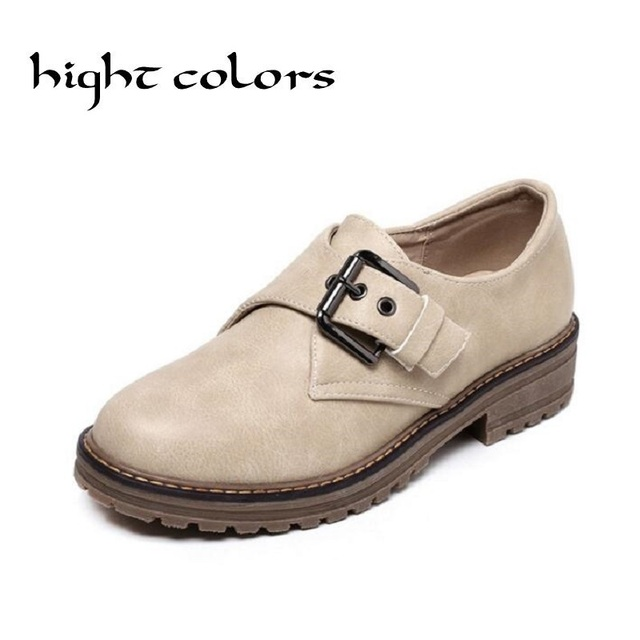 Vintage Pu Leather Hasp Round Toe Slip-on Women Oxfords Fashion England Style Flat Oxfords For Women Students  Casual Flat Shoes