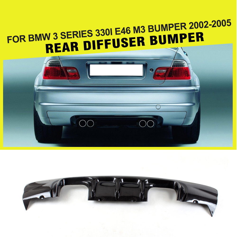 Автомобиль Стайлинг углеродного волокна задний диффузор бампер для губ охранник для BMW 3 серии 330i E46 M3 бампера 2002 2005