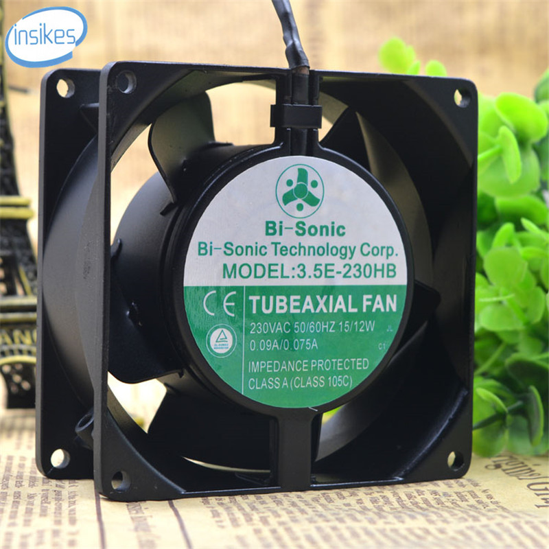3.5E-230HB High Temperature AC Axial Cooling Fan AC 230V 15/12W 0.09A/0.075A 3000RPM 9238 9cm 92*92*38mm2 Wires free delivery ac230v 8 cm high quality axial flow fan cooling fan 8038 3 c 230 hb