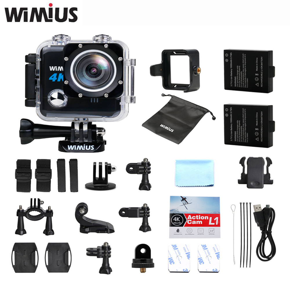Wimius 20M WIFI Action Camera 4k Sport Helmet Cam Full HD 1080p 60fps Go Waterproof 30m Pro Gyro Stabilization AV OUT FPV Camera battery dual charger bag action camera eken h9 h9r 4k ultra hd sports cam 1080p 60fps 4 k 170d pro waterproof go remote camera