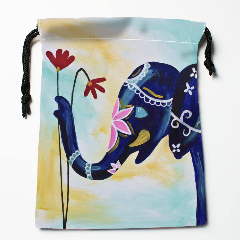 Custom Elephant  Printed Satin Storage Bag Drawstring Gift Bags More Size Storage Custom Your Image 27x35cm