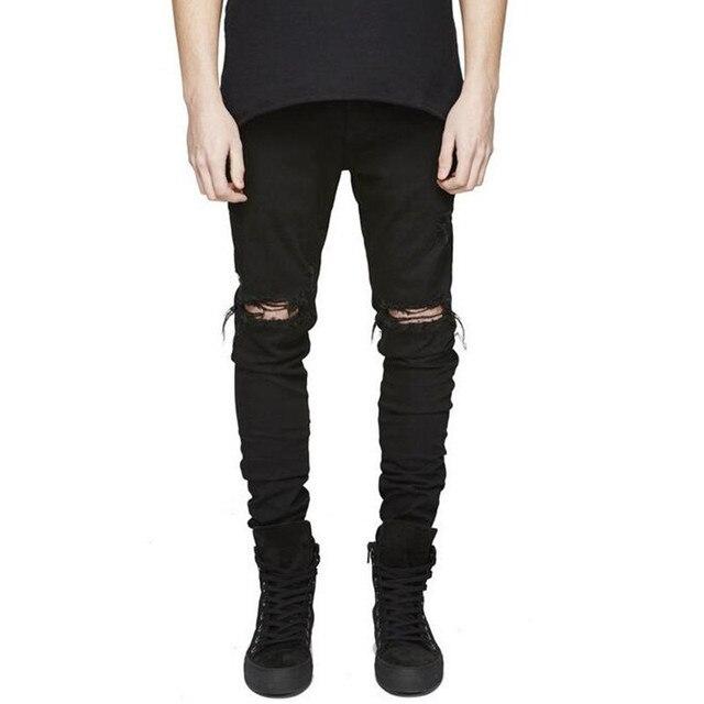 8ed4eba557 Hip hop streetwear slim fit ripped jeans vaqueros fresco hombres de alta de  la calle mens