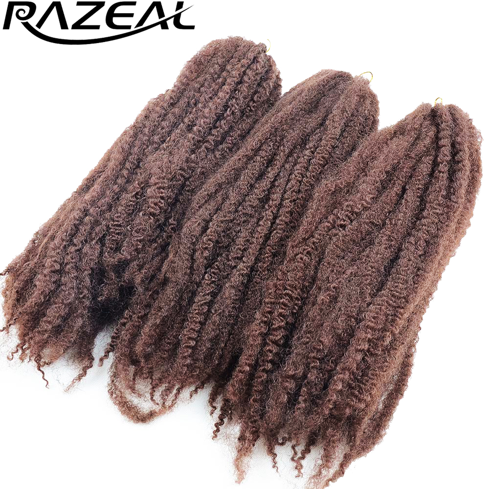 6 Pack Razeal Afro Kinky Twist Hair Crochet Marley Braid Synthetic Ombre Braiding Hair High Temperature Fiber