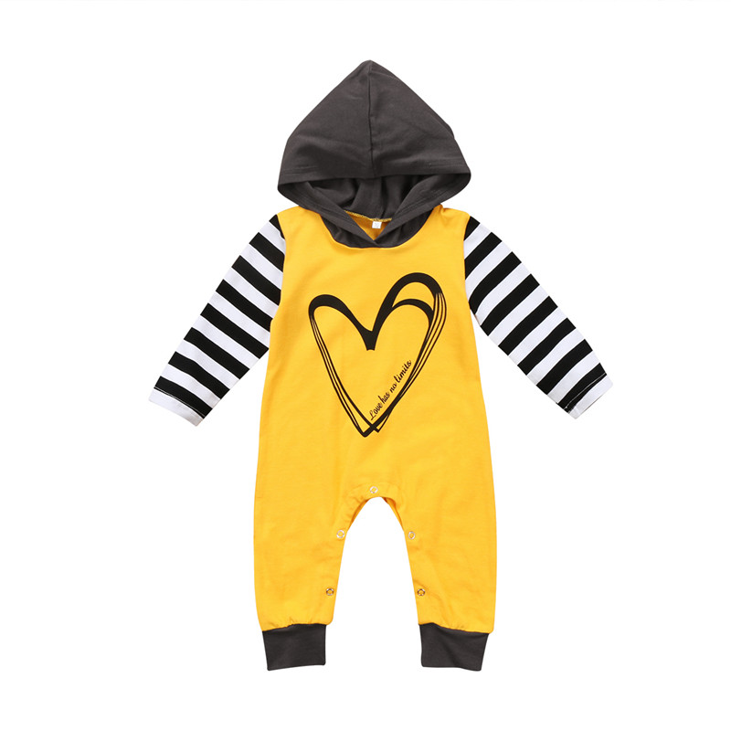 Newborn Infant Baby Boy Clothes Baby Girl Clothes Hooded Long Sleeve Romper Jumpsuit Stripe Autumn Warm Outfits Age 0-24M