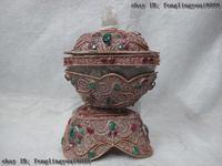 8 Буддизм серебряной проволоки инкрустация Рубин берилл драгоценный камень с украшением в виде кристаллов капалу кружка Череп чаша