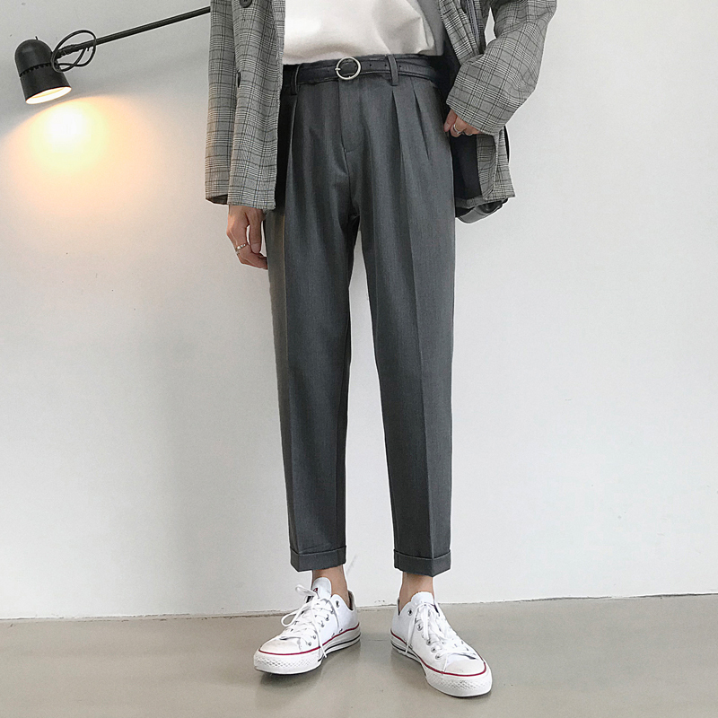 2019 Spring New Thin Section Double Pleats Drape Nine Points Male Loose Wild Trend Straight Casual Trousers