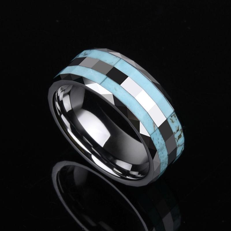 2017 nouveau bijoux pour hommes à la mode anneaux de tungstène 8mm largeur haute poli incrustation deux pièces de pierre bleue pour hommes femmes bijoux Vintage
