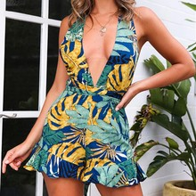 Summer Backless Loose Jumpsuit Deep V Straps Print Sling Romper Women Fashion Floral Playsuit недорого