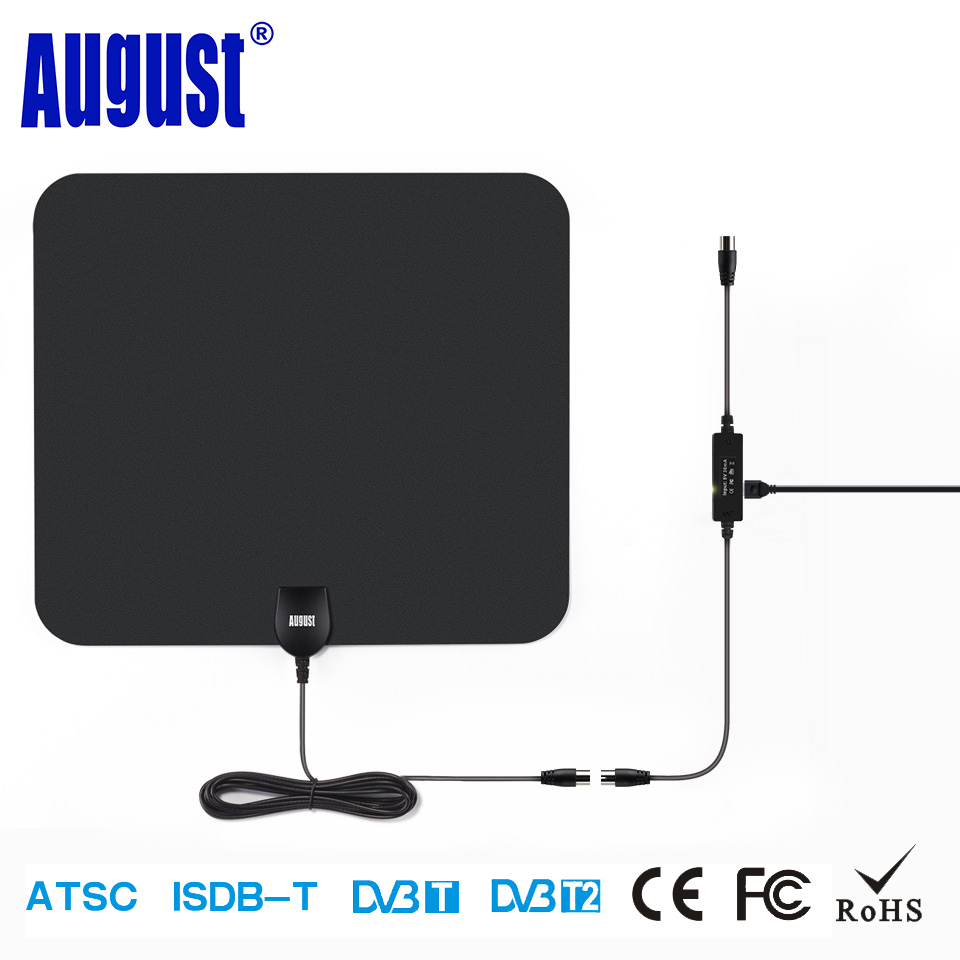August DTA435 HD Digital Indoor Amplified TV Antenna 75 Miles Range TV Antennas Amplifier for DVB-T DVB-T2 ISDB ATSC HDTV Aerial simple fashion hdtv amplified indoor digital tv aerial with high gain hdtv 50 miles reception range home use