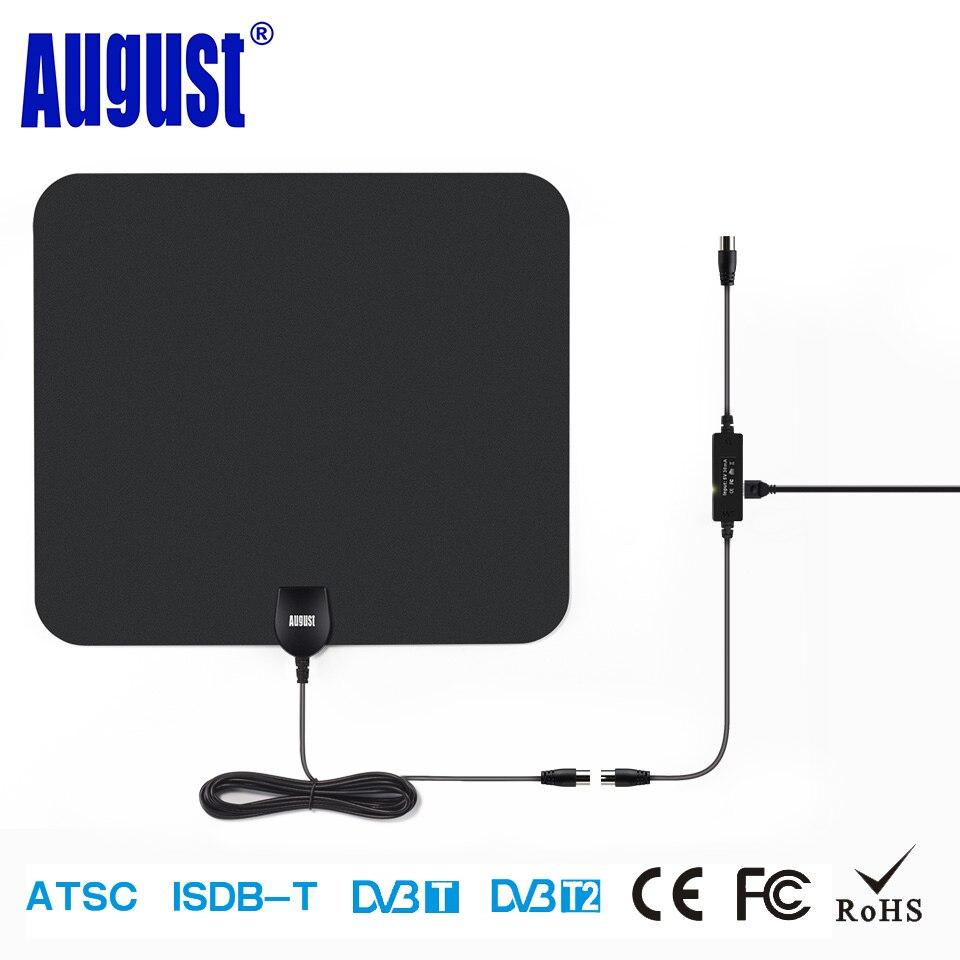 August DTA435 HD Digital Innen Verstärkt TV Antennen 75 Miles palette TV Antennenverstärker für DVB-T DVB-T2 ISDB ATSC HDTV luft