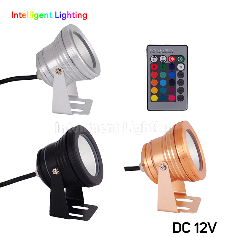 Wholesale 10W DC12V Silver surface/Gold Surface/Black Surface RGB/R/G/B/White/Cold/Warm White led light underwater Plain mirror black plain cold shoulder