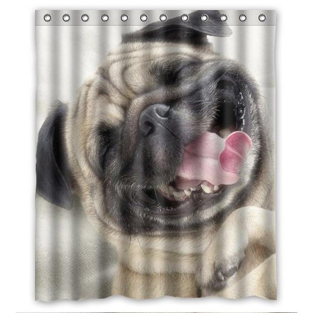lovely happy pug dog Custom Shower Curtain 60 Inch trendy-in ...