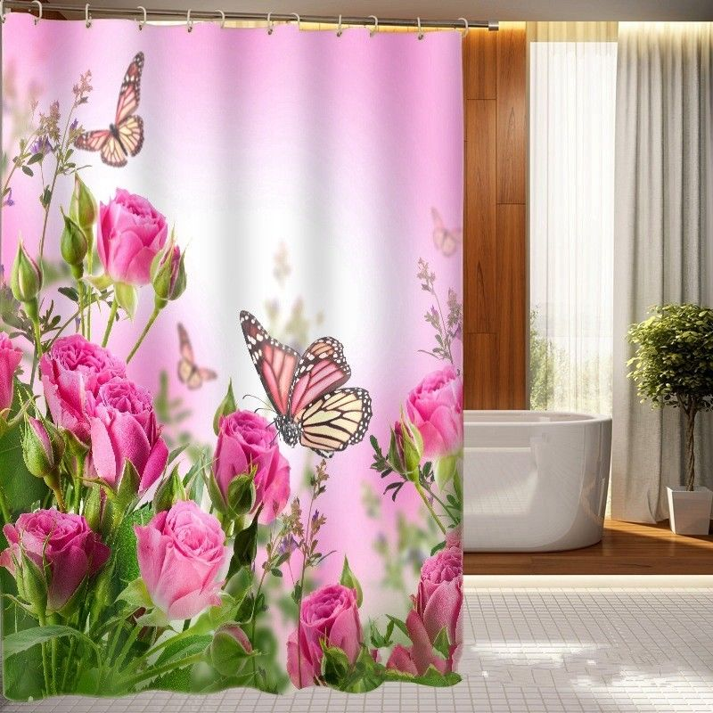 180*180C European 3D Cherry Blossoms Wood Waterproof Shower Curtains Polyester Rose Butterfly Bathroom Ornament Curtain WA283 T5
