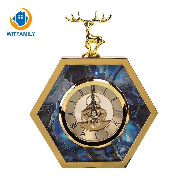 Europese Stijl Wekker Slaapkamer Mute Creatieve Zeshoekige Herten Dier Studie Woonkamer Tafel Klok Ornamenten Home Decor Horloge Lage Prijs