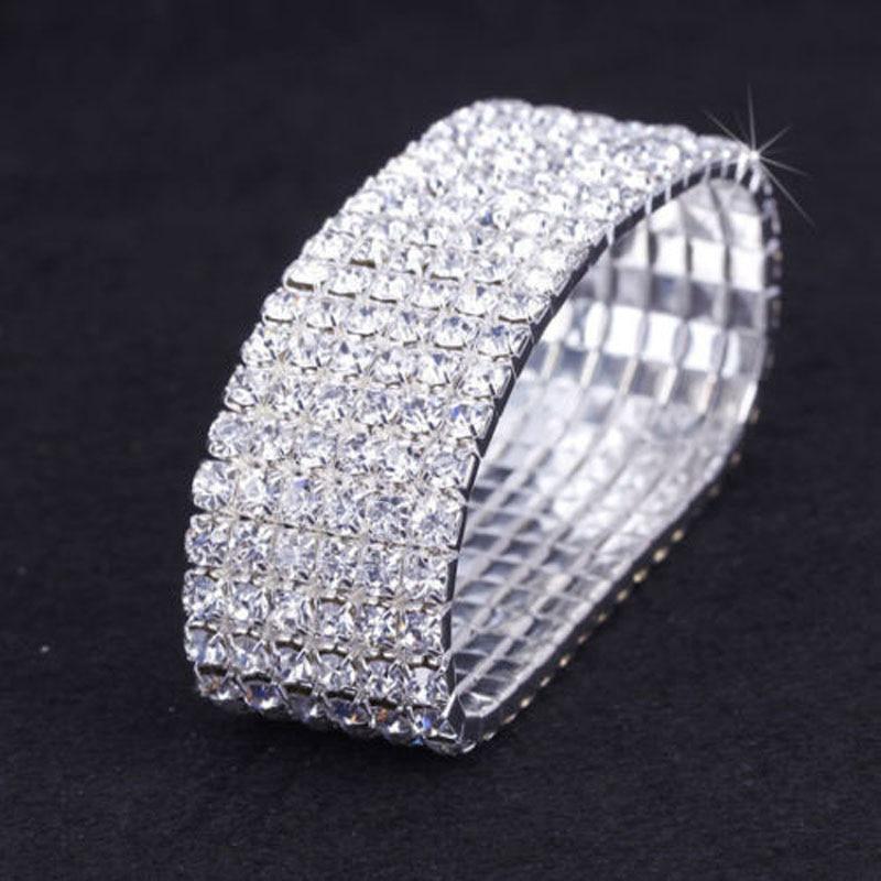 3db / Lot 6 soros esküvői Clear Crystal strassz elasztikus - Divatékszer