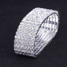 3pcs / Lot 6-Row Bridal Clear Crystal Rhinestone Elastic Stretch Браслет Безкоштовна доставка 1312302358