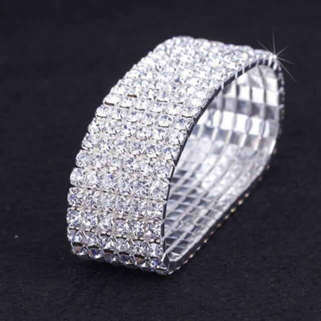 Bridal Wedding Bracelet Silver Plated 6 Rows Stretch Bangle Bracelet for Women H