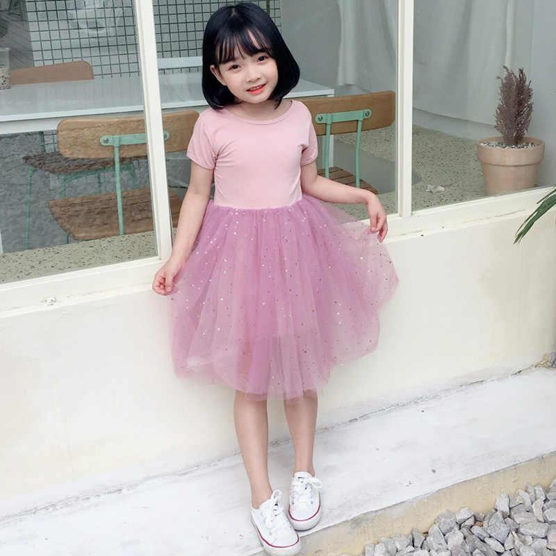 Đầm bé gái Ngắn tay Mùa Hè Bé Gái Áo Quần Áo Trẻ Em Vestidos Hở Lưng Lưới Bé Gái Bóng Xuống Đầm RT428