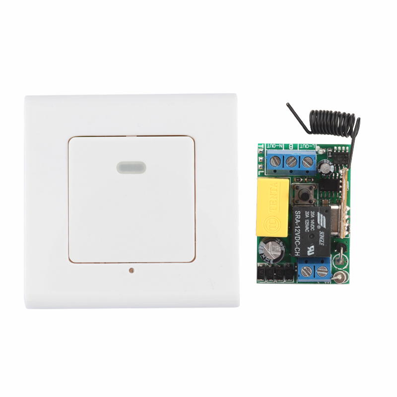 Smart Home Panel Wireless Wall Transmitter Remote AC 220V 1CH 10A Relay Mini Receiver Learning Code TX Input 220V Output AC220V