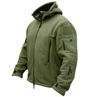 Winter mens Military Fleece Tactical soft shell Jacket Shark skin Multi pocket Warm Polar Army Hooded coat male zipper outwear