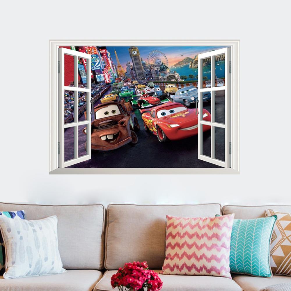 HTB1WGpSXEvrK1RjSszfq6xJNVXaz - 3D DIY Pixar Cars Lightning McQueen Wall Sticker + Free Shipping
