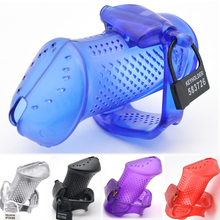 купить New Perforated Design Male Penis Cock Ring Chastity Device Cages Adult Sex Toys For Men 5 Plastic Locks and Brass Built-in Lock дешево