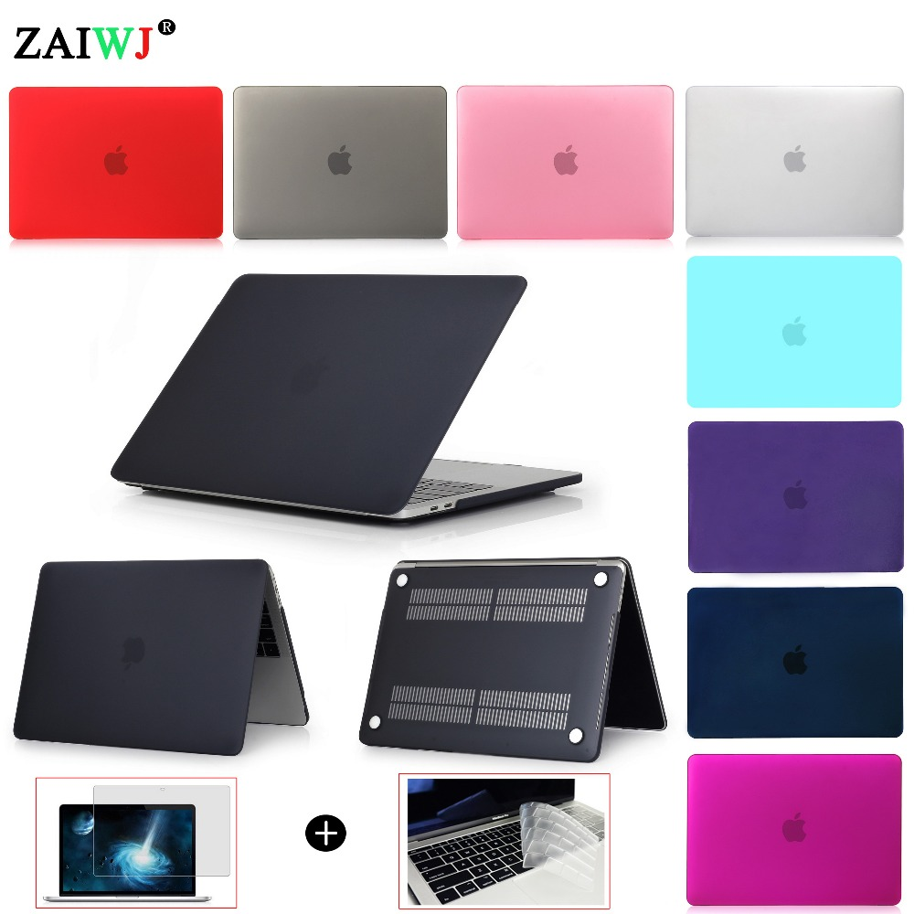 ZAIWJ - Laptop Case For MacBook Air Pro Retina 11 12 13 15 for Mac book 2018 New Pro 13 15 inch with Touch Bar+ Keyboard Cover