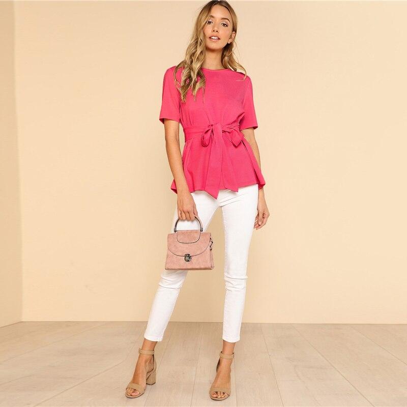 Sheinside Self Belt Keyhole Back Blouse Solid Short Sleeve Top 18 Summer Women Office Ladies Work Elegant Blouse 28