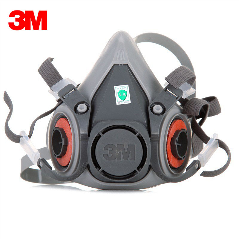 3pcs 3M 6200 Facepiece Gas Mask Respirator Reusable Protective Military Shield Dual Tank Assembly 2091/6001 Paint Mine Chemical