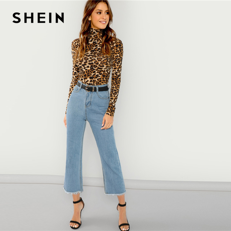 097b72660a619f SHEIN Brown Highstreet Office Lady High Neck Leopard Print Fitted Pullovers Long  Sleeve Tee 2018 Autumn Casual Women T shirt Top-in T-Shirts from Women s ...