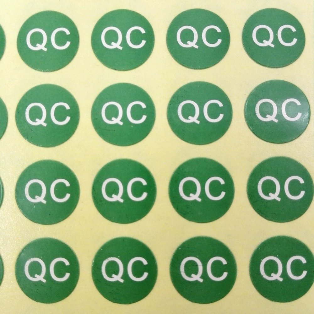 4000pcs lot 10mm qc self adhesive paper label sticker for quality control green color item no fa06 in stationery stickers from office school supplies on