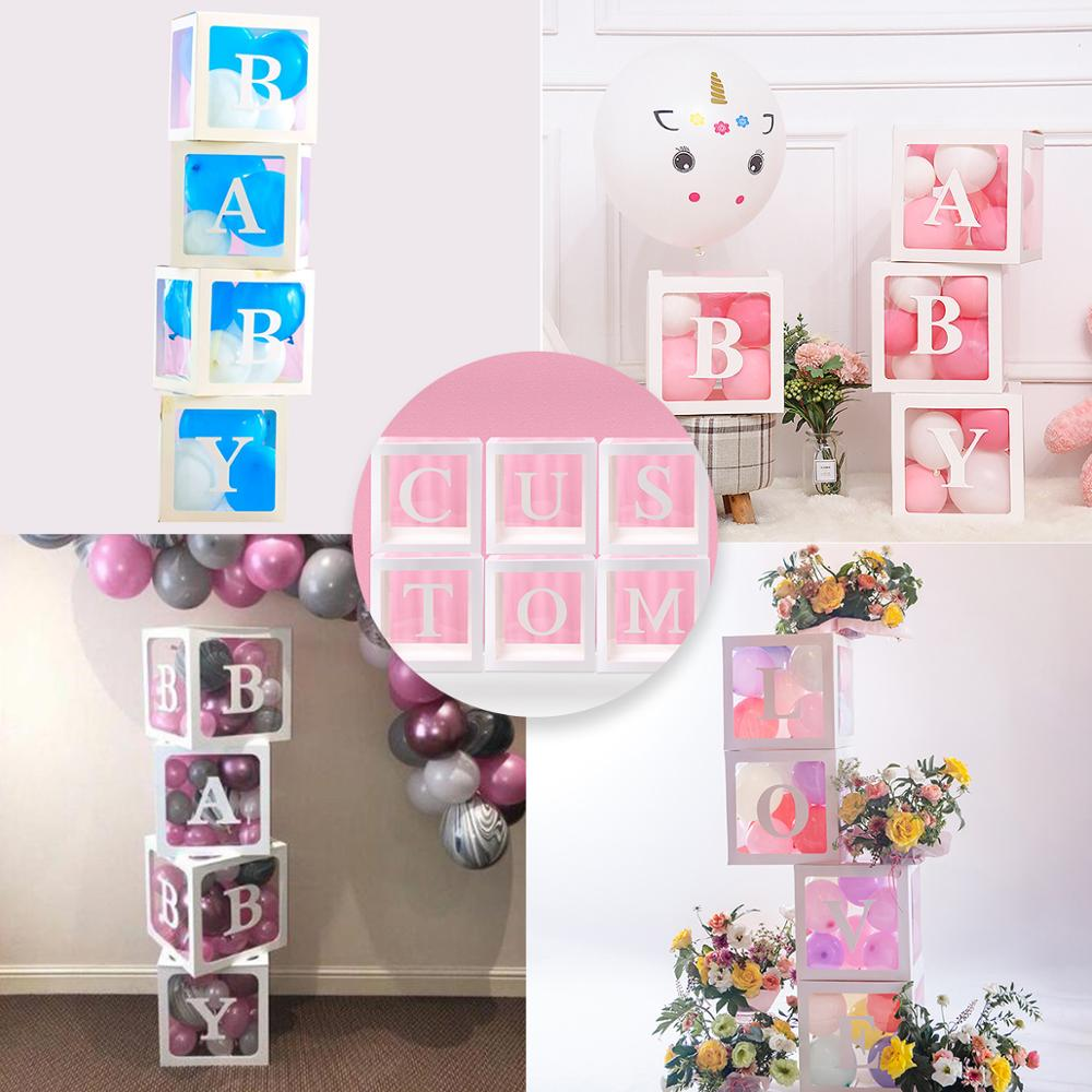 QIFU Baby Transparante Opbergdoos Ballon Baby Shower Decoraties 1st Verjaardagsfeestje Decoraties Kids Baby Shower Jongen Meisje Geschenken 1