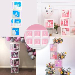 Image 2 - Qifu 赤ちゃん透明ボックス収納バルーン装飾 1st 誕生日パーティーの装飾ベビーシャワーの少年少女のギフト