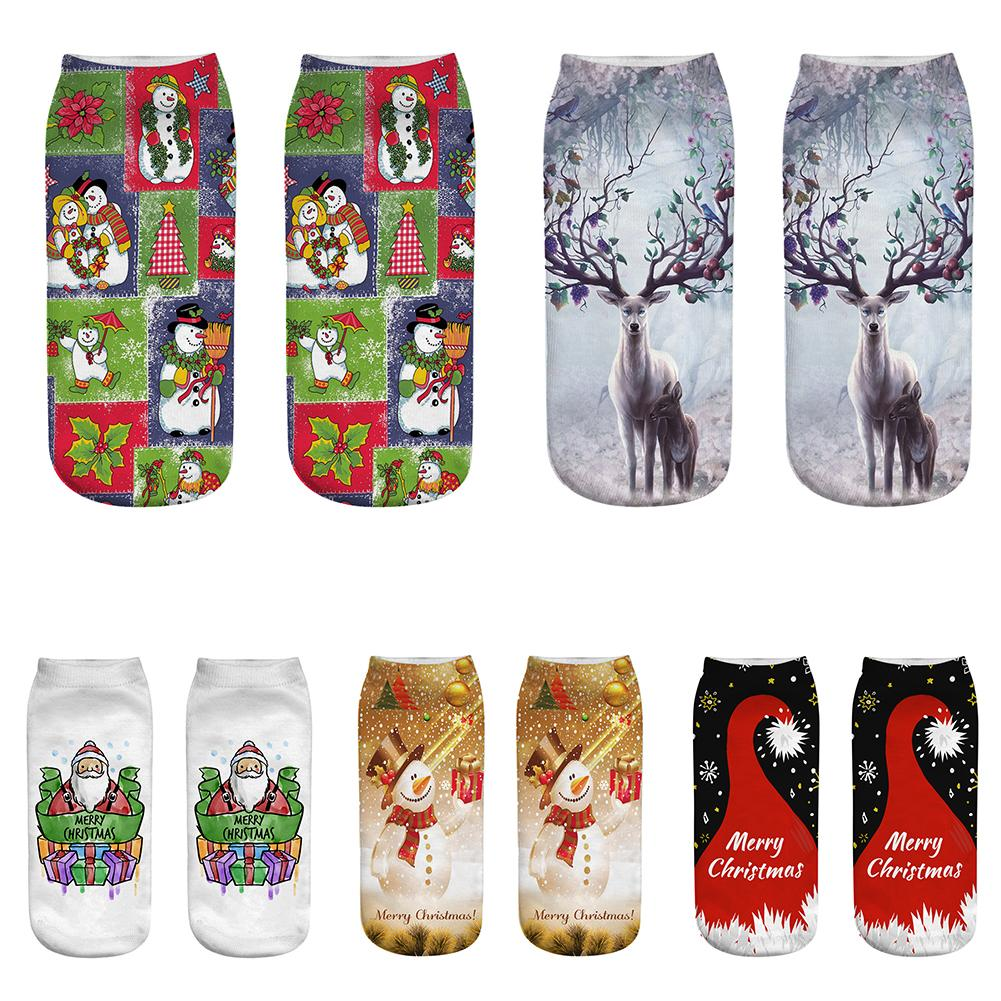 Christmas Socks Women 3D Socks 2019 New Year Gift Kawaii Calcetines Femme Santa Claus Elk Snowman Girls Cute Emoji Funny Sock