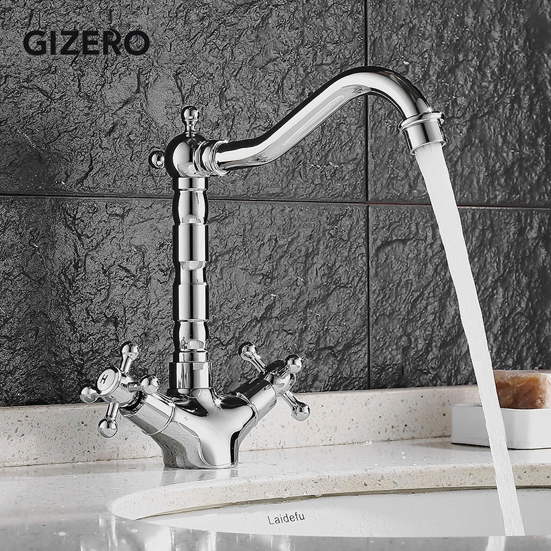 Bathroom Basin Faucets Chrome Hot and Cold Water Dual Handle Deck Mount Solid Brass Bathroom Vanity Sink Swivel Mixer Taps ZR703