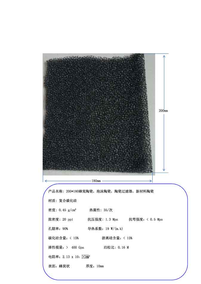 200*180mm honeycomb ceramic, foam ceramic, ceramic filter ceramic