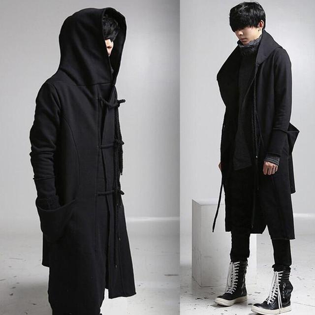 Mens casual sobretudo de lã com capuz moda longo trench coat homens hip hop preto longo casaco jaqueta moletom com capuz