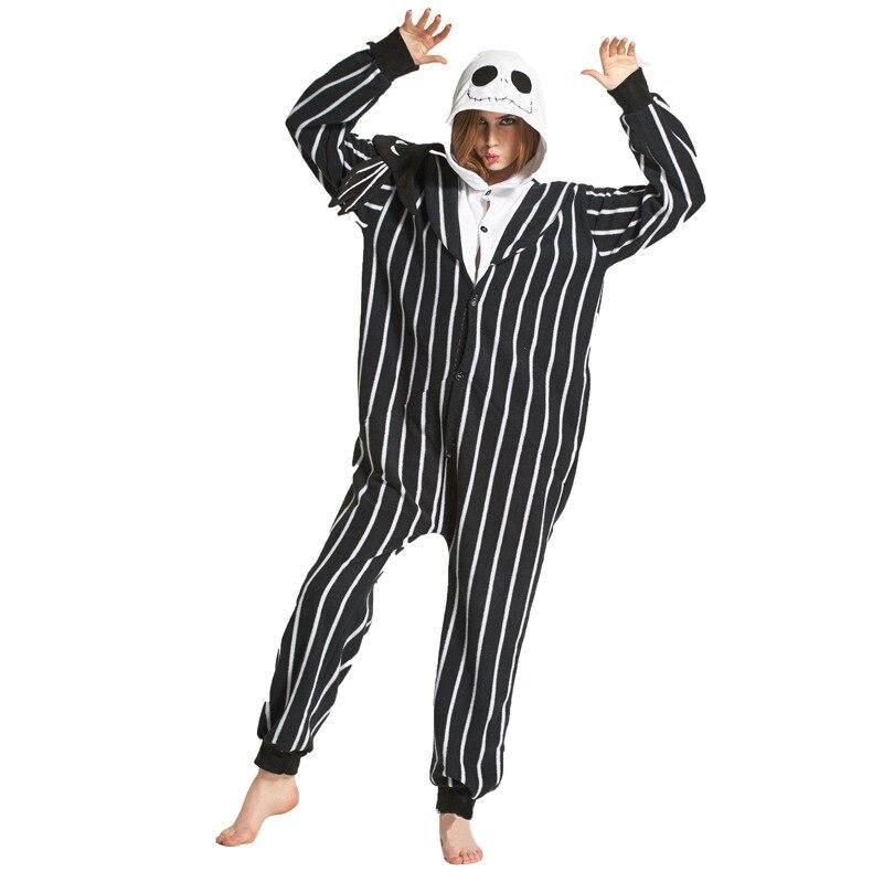 Polar Fleece Adult Warm   Pajamas     Set   Jack Skellington Kigurumi Onesies Women Men Halloween Cosplay Costume Cartoon Sleepwear