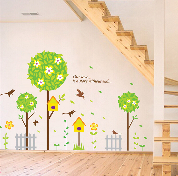 Birds Home And Natural Trees Wall Stickers For Baby Room Bedroom Stairs Living  Room School ... Part 82