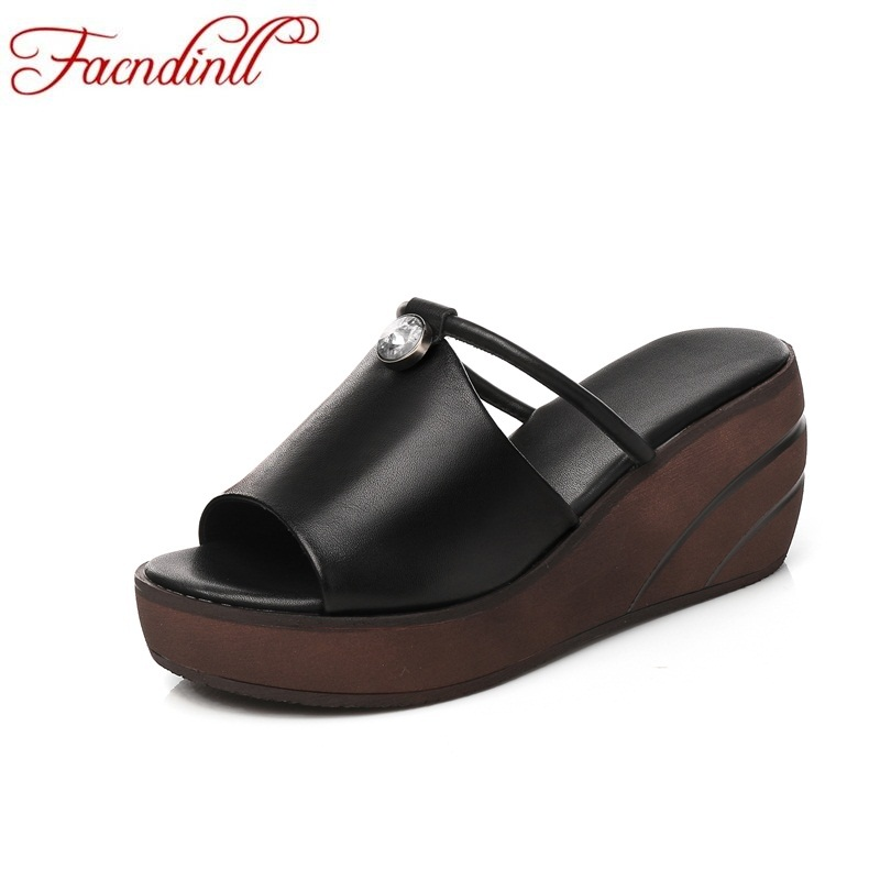 FACNDINLL hot new 2018 summer women slippers wedges sandals ladies rhinestone open toe black white platform casual date ssandals facndinll new women summer sandals 2018 ladies summer wedges high heel fashion casual leather sandals platform date party shoes