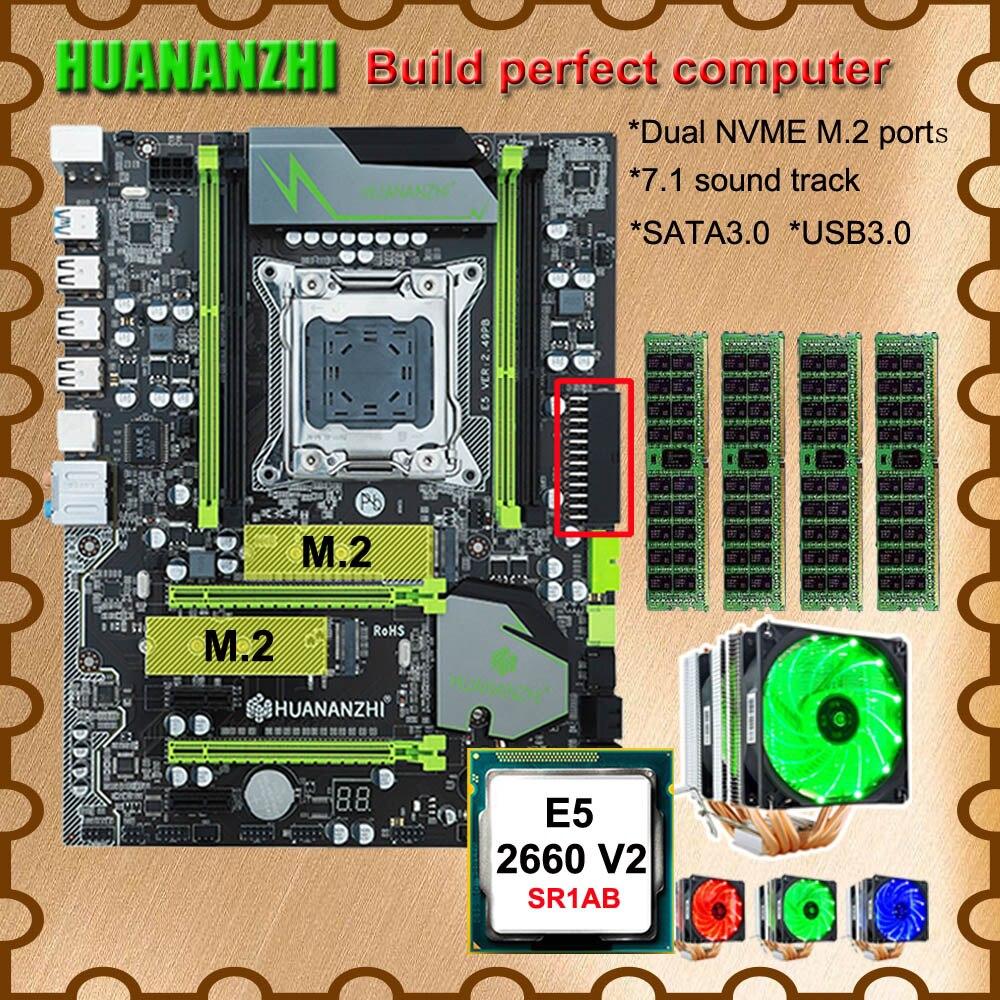 Computador DIY HUANANZHI X79 motherboard Pro com DUAL slot SSD NVMe M.2 CPU Intel Xeon E5 2660 V2 6 tubos refrigerador RAM 32G (4*8G)