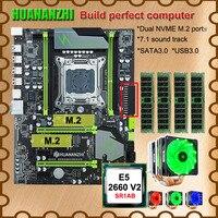 Computer DIY HUANANZHI X79 Pro motherboard with DUAL M.2 NVMe SSD slot CPU Intel Xeon E5 2660 V2 6 tubes cooler RAM 32G(4*8G)