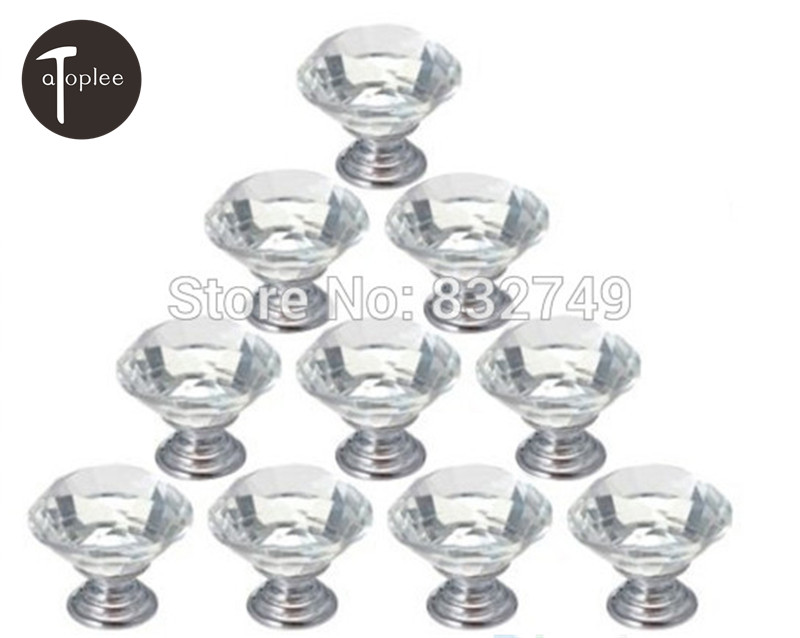 10Pcs 26mm Diamond Shape Crystal Glass Cabinet Knob Alloy Door Drawer Cabinet Knobs Handle Wardrobe Pull Door Handle Knobs css clear crystal glass cabinet drawer door knobs handles 30mm