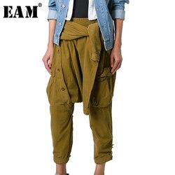 [EAM] 2020 Nuova Primavera A Vita Alta Nero Vita Badgae Croce Bandgae Punto Pantaloni Delle Donne Dei Pantaloni di Modo di Marea JG754