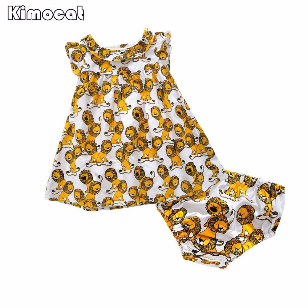Kimocat 2 pcs toddlers infant girl baby girl clothing sets summer clothes Dress+Shorts baby outfits clothes for girls