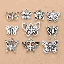 3d248e02b0 Misto D'argento Tibetano Placcato Della Farfalla Della Libellula Pendente di  Fascino per la Collana Del Braccialetto Accessori D..