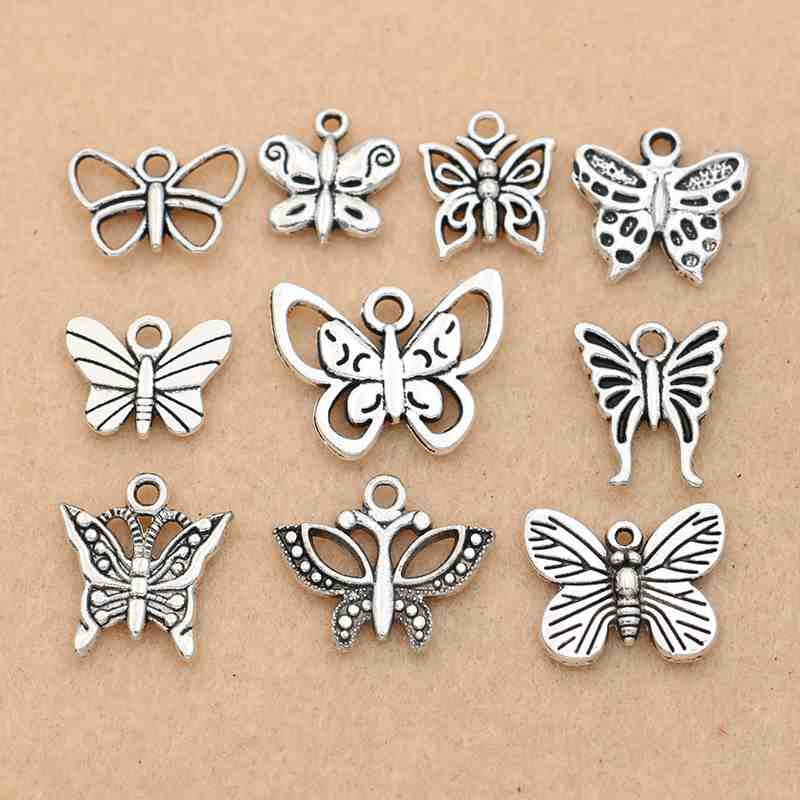Tibetan Silver Dragonfly and Butterfly Charm Bracelet