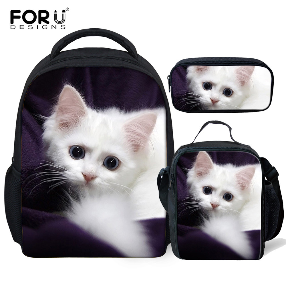 FORUDESIGNS 3Pcs/set Adorable Cat School Bags For Kids Girls Kindergarten Preschool Backpack Children Small Toddler Bag Satchel