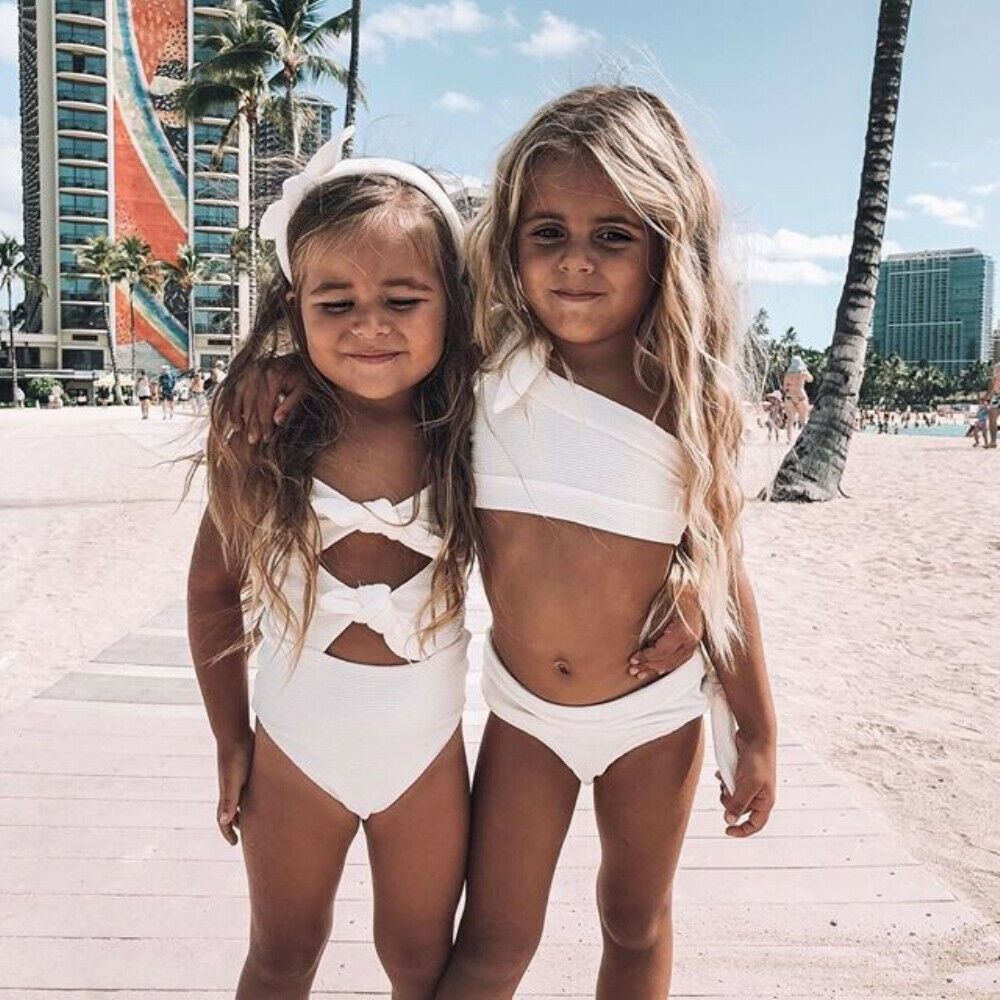 Kids Baby Girl Solid Bow-knot Swimwear Swimsuit Bathing Suit Bikini Beachwear title=